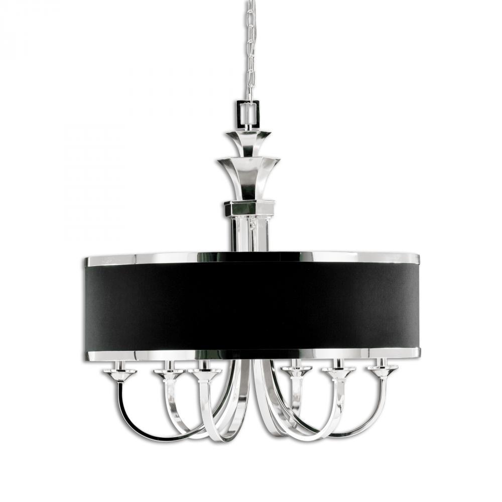 uttermost tuxedo 6 light black shade chandelier fzpz shanor